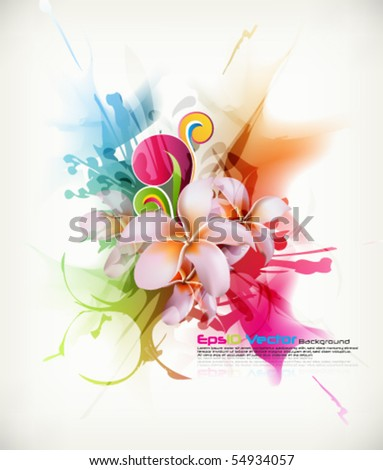 eps10 vector realistic Frangipani flower in multicolored ink splattered background