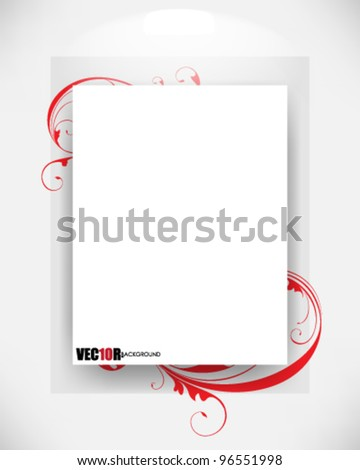 eps10 vector rectangle blank frame with foliage elements - stock vector