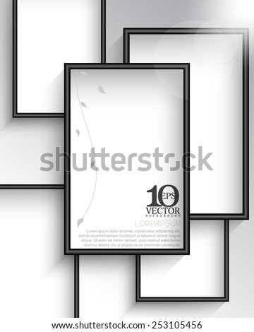 eps10 vector rectangular empty space with silhouette foliage photo frame background design - stock vector
