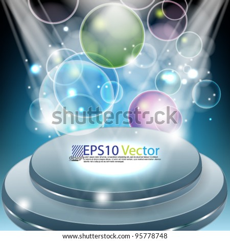 eps10 vector round blank stage with lights and balls background - stock vector