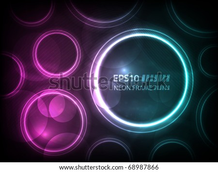 EPS10 vector round neon frame on a dark background - stock vector