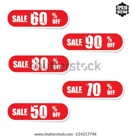 EPS10 Vector: Sale tags with Sale up to 50 - 90 percent text on red tags.  - stock vector