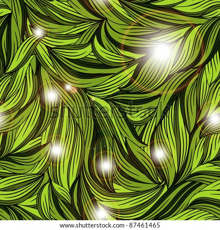 eps 10, vector seamless abstract pattern with bright leaves clipping masks - stock vector