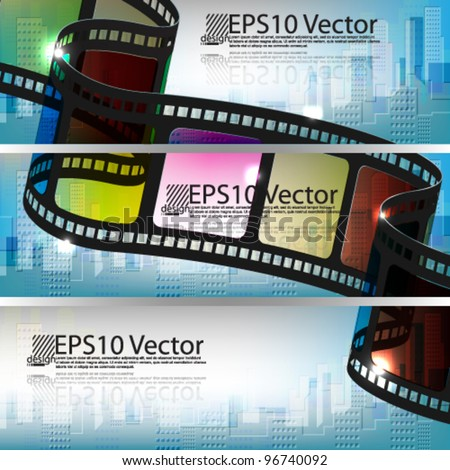eps10 vector set of abstract banner film strip with building background design - stock vector