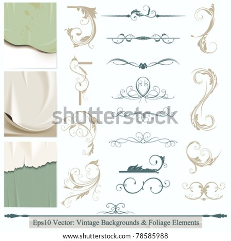 eps10 vector set of calligraphic flourishes elements for your background design - stock vector