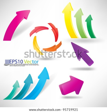 eps10 vector set of 3D arrows for business and finance graphs and charts - stock vector