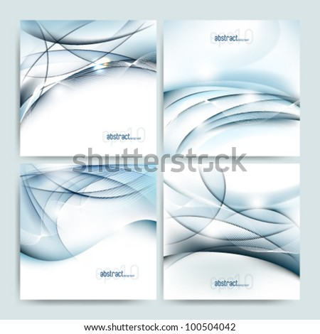 eps10 vector set of four futuristic glossy background template - stock vector