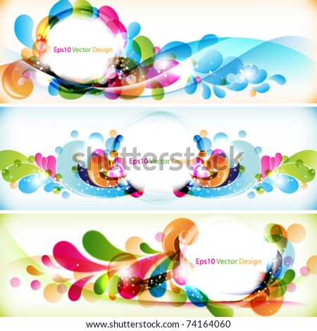 eps10 vector set of multicolored banner with round frame - stock vector