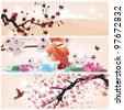 EPS 10 vector - set of oriental banners - stock vector