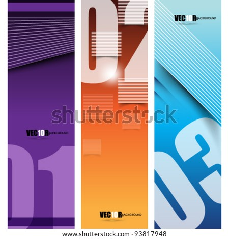eps10 vector set of three abstract design - stock vector