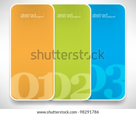 eps10 vector set of three rectangular blank frame background - stock vector