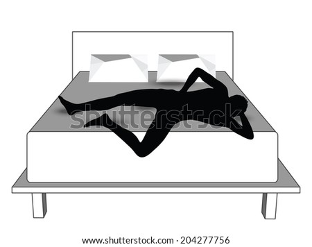 EPS Vector 10 - silhouette of a man in bed