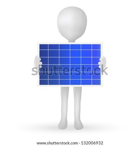 EPS Vector 10 - small 3d man hands holding a solar panel - stock vector