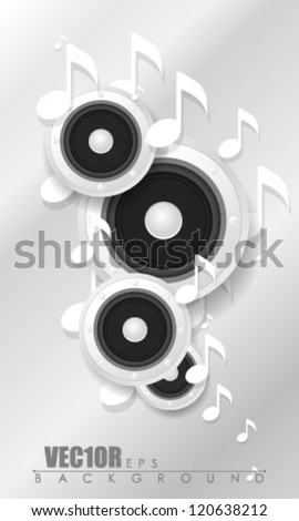 eps10 vector speaker and music note design - stock vector