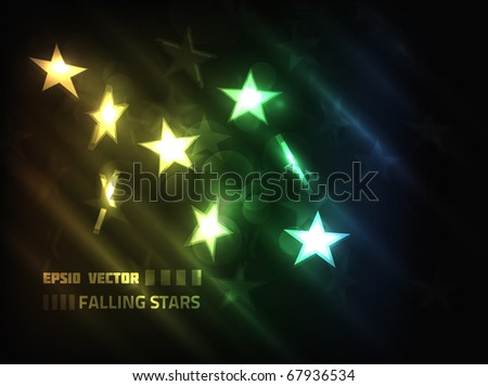 EPS10 vector stars, falling and shining brightly on a multicolor background - stock vector