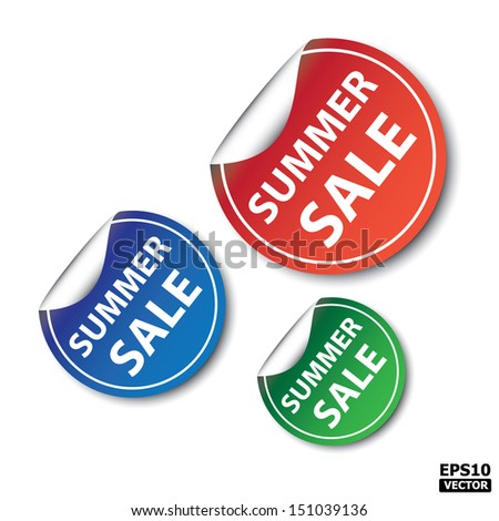 EPS10 Vector: Summer sale sticker,icon, label, tag, stamp, sign, symbol. - stock vector