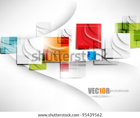 eps10 vector trendy multicolor square elements in chrome background - stock vector