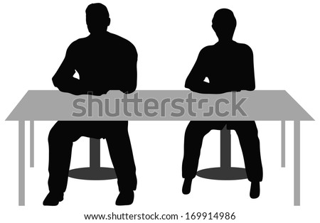 EPS10 Vector. Two business people sitting a desk. - stock vector