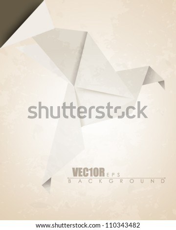 eps10 vector vintage origami bird design