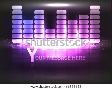EPS10 Vector violet equalizer design on black background. Composition has very bright colors. - stock vector