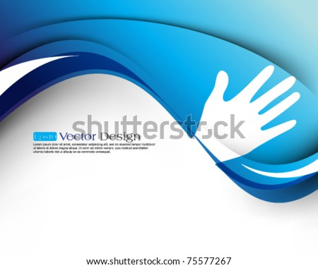 eps10 vector wave and hand concept background - stock vector