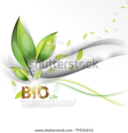 eps10 vector wave and leaf elegant concept layout - stock vector