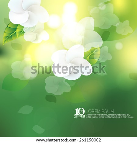 eps10 vector white flower blossom spring season beautiful sunlight bokeh nature ecology background - stock vector