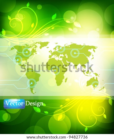 Eps10 Vector World Map in Nature Concept Background Design