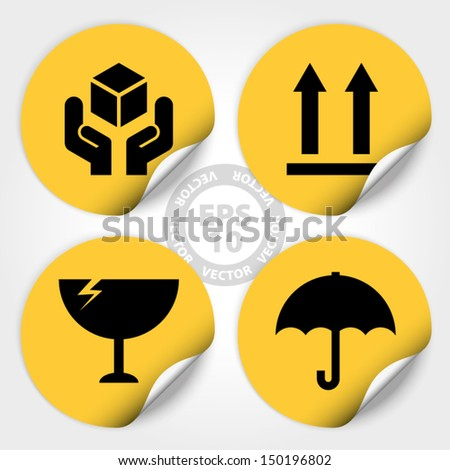 EPS10 Vector : Yellow Fragile Circle Stickers and Tags (Fragile icon, Handle with care icon, Keep dry icon, This side up icon) - stock vector