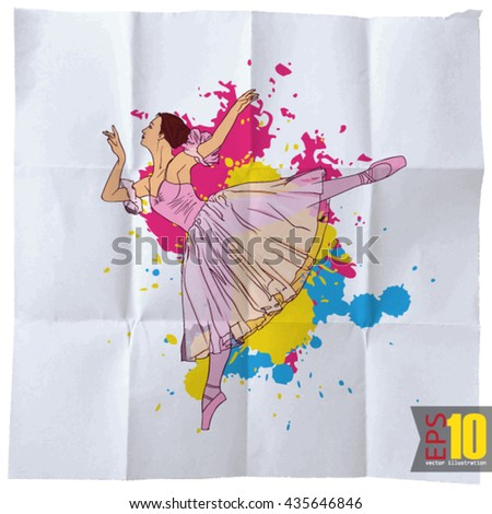 EPS10 vintage background with balerina - stock vector