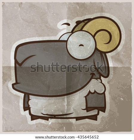 EPS10 vintage background with cartoon sheep