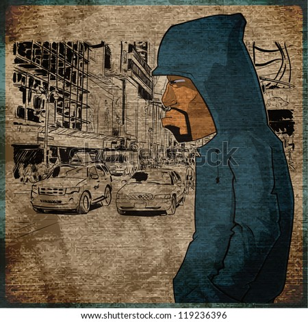 EPS10 vintage background with graffiti character - stock vector