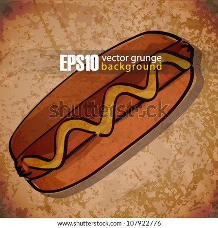 EPS10 vintage background with hot dog - stock vector