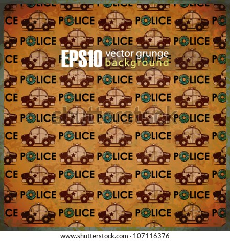 EPS10 vintage background with police cars - stock vector