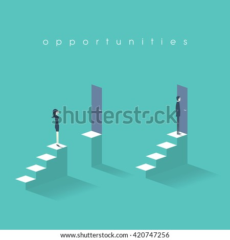 Equal opportunities business concept with businesswoman and businessman standing in front of doors on top of stairs. Eps10 vector illustration. - stock vector