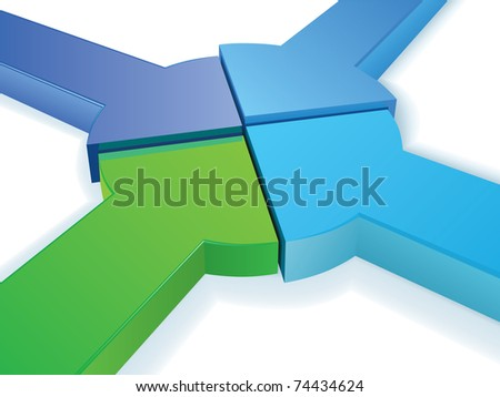 Equal Partnership pie chart high detailed 3d vector concept