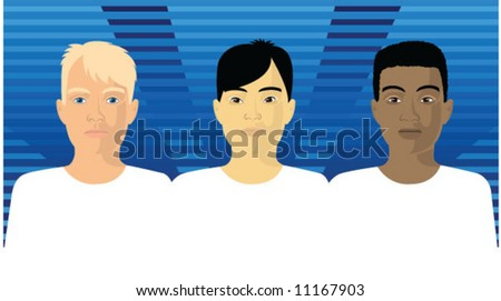 Equality - Caucasian, Asian and African Americans stand shoulder to shoulder, side by side. - stock vector
