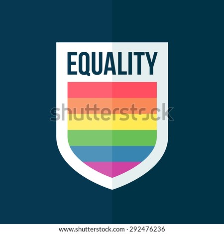 Equality concept rainbow shield badge graphic emblem - stock vector