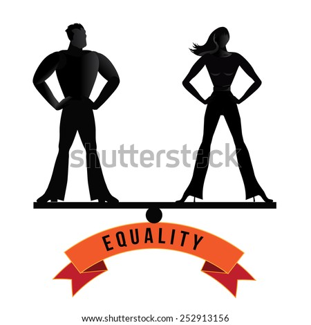 Equality man and woman balance EPS 10 vector royalty free stock illustration - stock vector