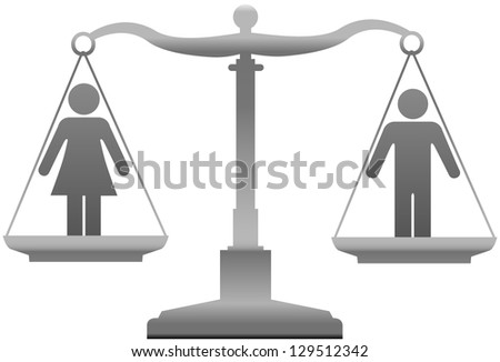 Equality scales weigh gender justice issues - stock vector