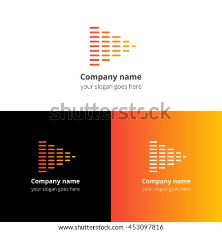 Equalizer beat into play music sound icon, flat logo vector template. Abstract symbol and button with yellow-orange gradient for music service or company. - stock vector