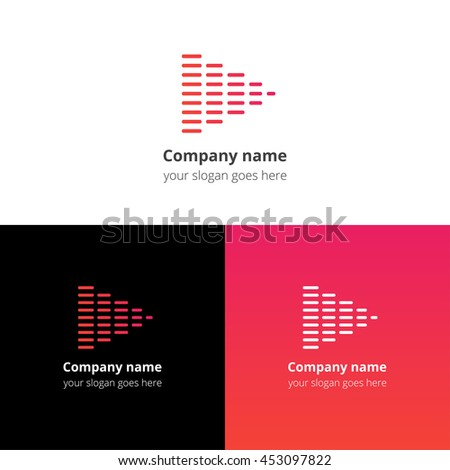 Equalizer beat into play music sound icon, flat logo vector template. Abstract symbol and button with red-pink gradient for music service or company. - stock vector