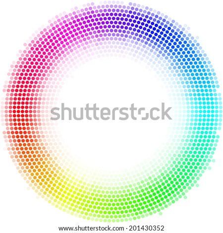 Equalizer multicolor dots digital in form circle with white in  center on the white background - stock vector