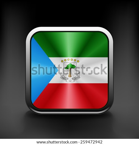 Equatorial Guinea icon flag national travel icon country symbol button. - stock vector