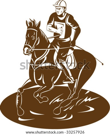 Equestrian and his horse - stock vector