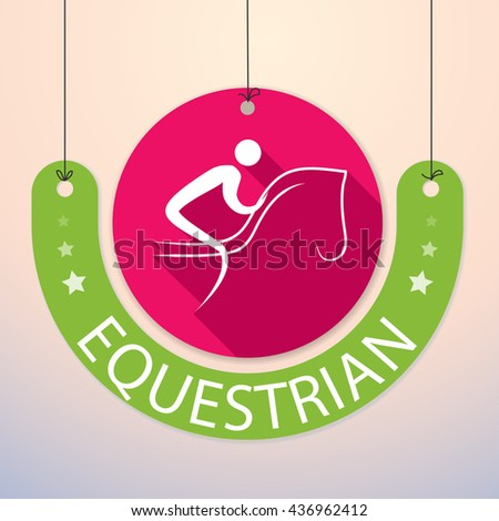 Equestrian - Colorful Paper Tag for Sports - stock vector