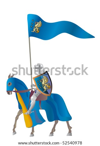 Equestrian knight with flags in a parade vestment on a white background - stock vector