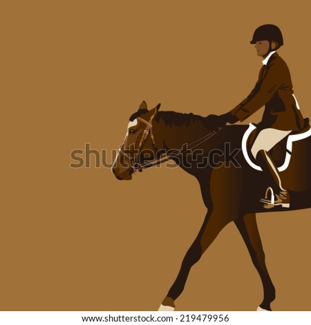 equestrian rider with horse - stock vector