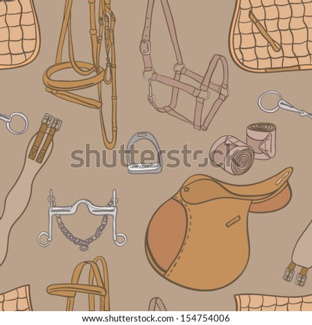 Equestrian seamless pattern drawn by hand in vector. Unique detailed horse accessories set. Everything you need for horseback riding in tne perfect set drawn in orange and brown colors. - stock vector