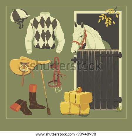 Equestrian set: racehorse harness and jockey equipment. - stock vector